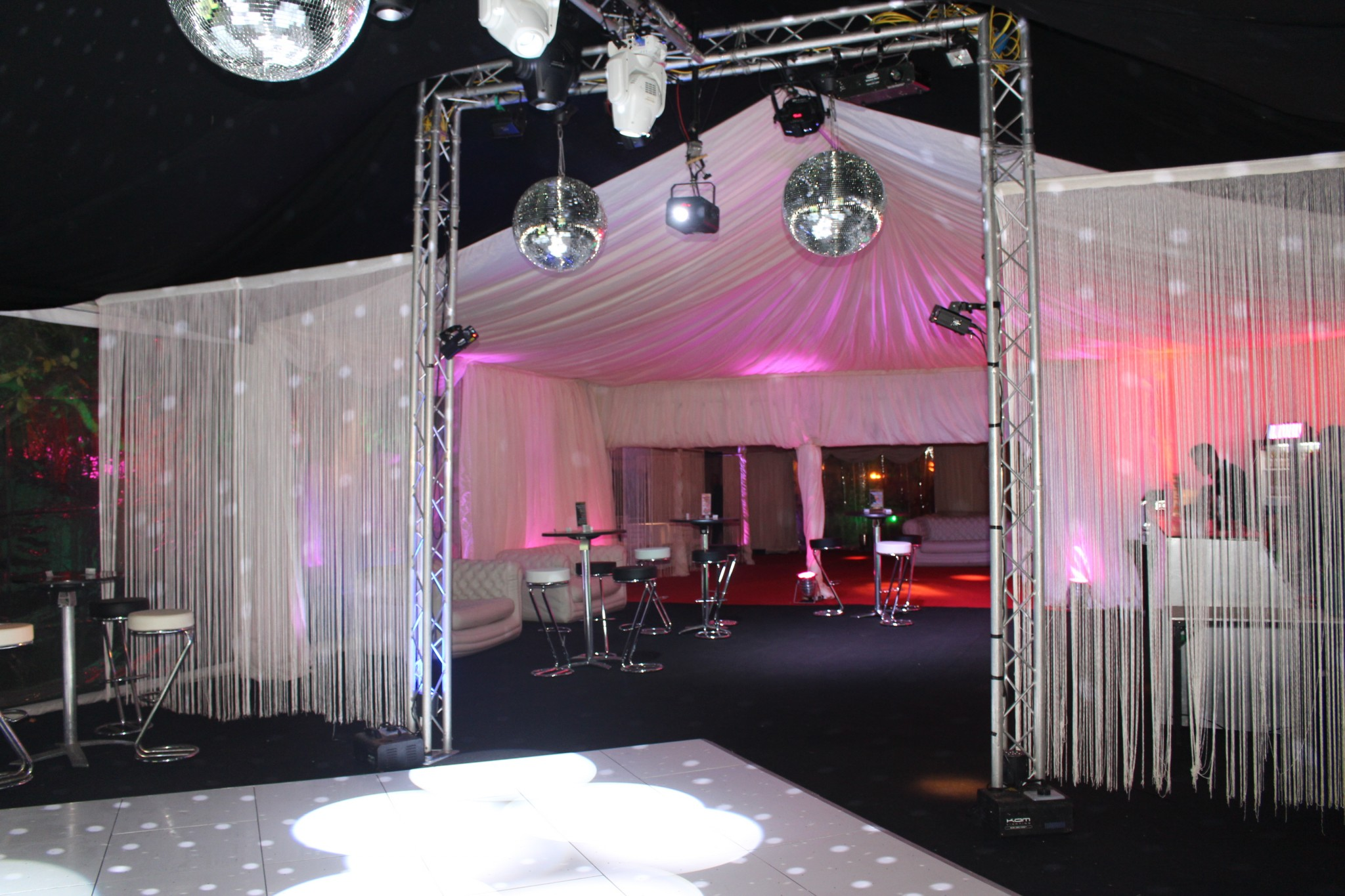 decoration for party and event with dancefloor to hire