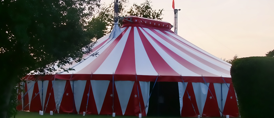 circus style marquee for fun event hire