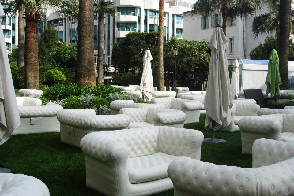 white furniture for hire in Surrey and hire in Sussex, guests at a wedding will love relaxing on these during the wedding reception
