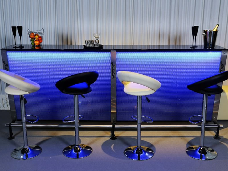 Colour changing professional cocktail bar hire