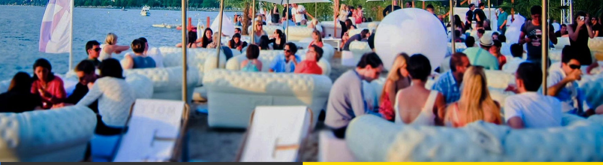 Inflatable blofield furniture on beach for a party