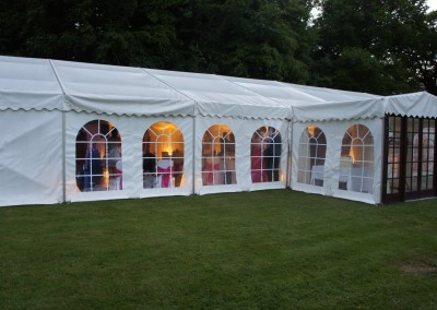 Countryside wedding reception in a traditional marquee