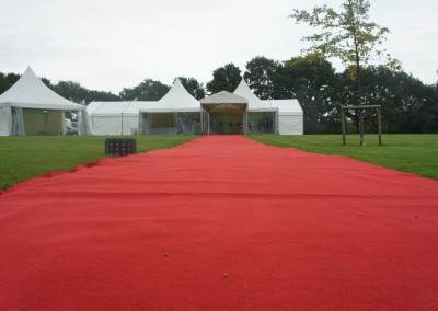 Large red carpet for marquee entrance