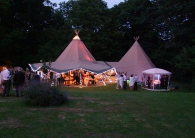 wedding reception in the tipi marquee