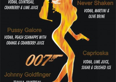 James Bond Cocktail Menu