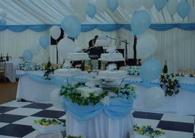 Marquee Interior for wedding reception