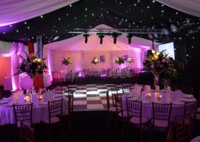 Marquee with lighting rig and dancefloor available for hire