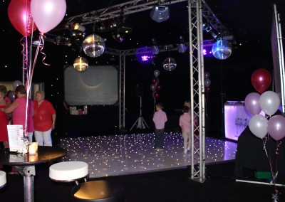 White LED Dance Floor with standard truss lighting rig