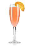 Peach puree and Prosecco stirred in a champagne glass, garnished with fresh peach or a raspberry