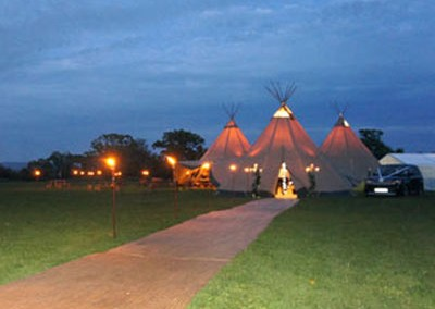 beautiful tipi marquee at night